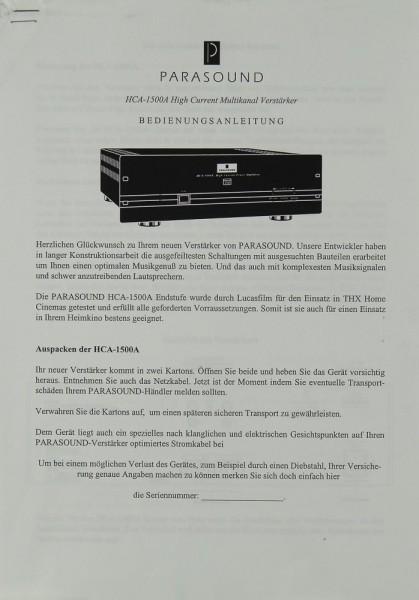 Parasound HCA-1500 A Bedienungsanleitung