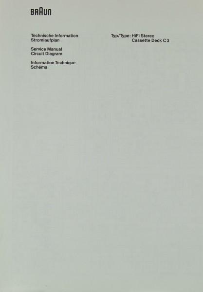 Braun C 3 Schaltplan / Serviceunterlagen