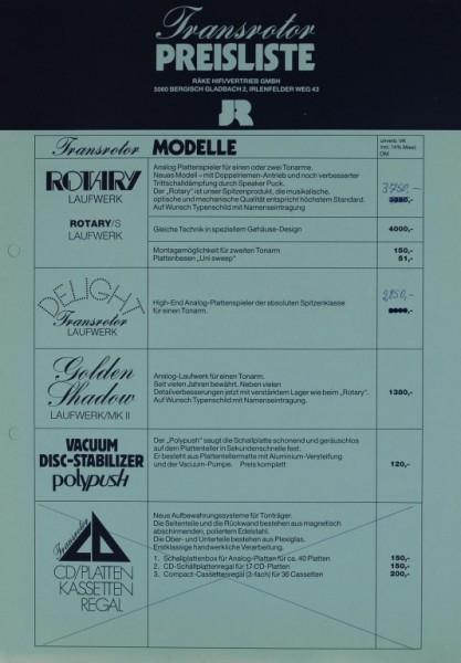JR Transrotor Preisliste ( Zubehör & Modelle) Prospekt / Katalog