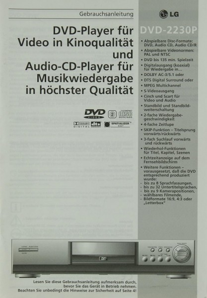 LG DVD-2230 P Bedienungsanleitung