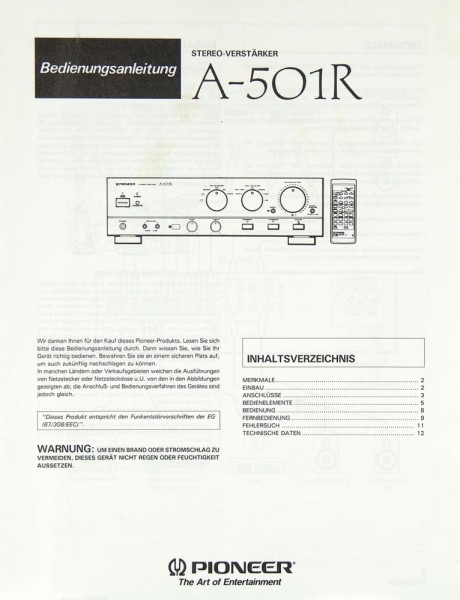 Pioneer A-501 R Bedienungsanleitung