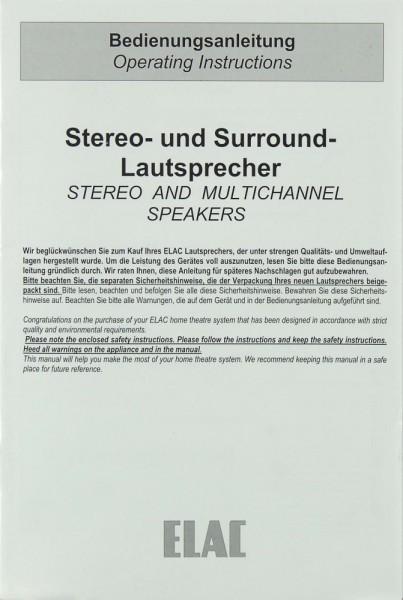 Elac Stereo- und Surround-Lautsprecher Bedienungsanleitung