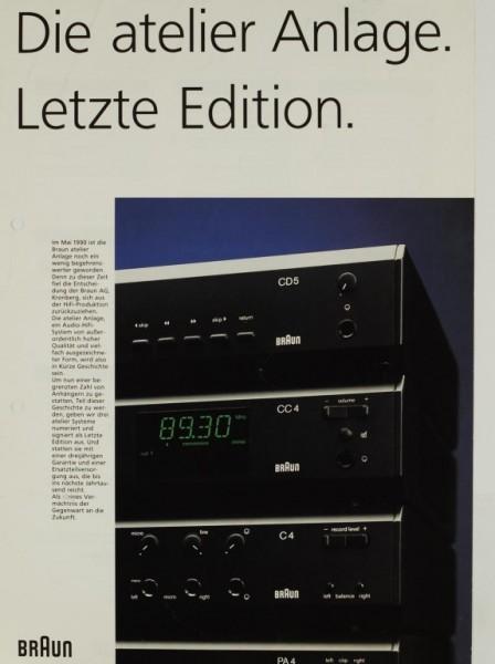 Braun Die atelier Anlage - Letzte Edition Prospekt / Katalog
