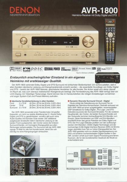 Denon AVR-1800 Prospekt / Katalog