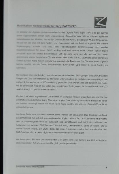 Sony / Swoboda DAT 2000 ES, etc. Bedienungsanleitung