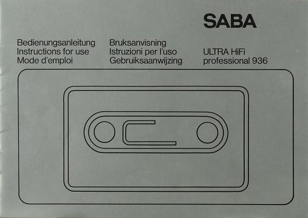 Saba Ultra Hifi Professional 936 Bedienungsanleitung