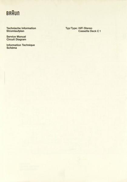 Braun C 1 Schaltplan / Serviceunterlagen