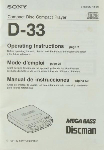 Sony D-33 Bedienungsanleitung