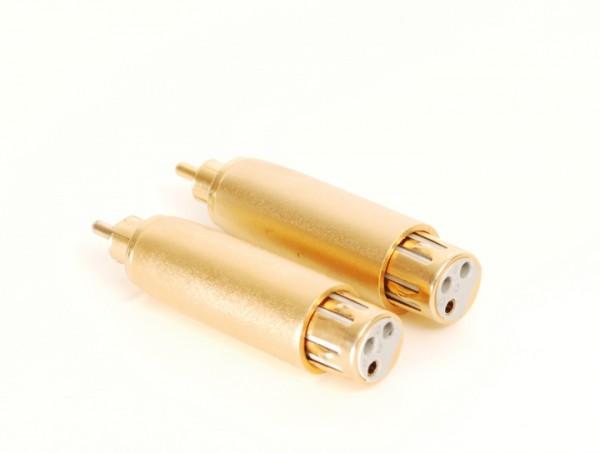 XLR Buchse - Cinch Stecker Adapter Paar vergoldet