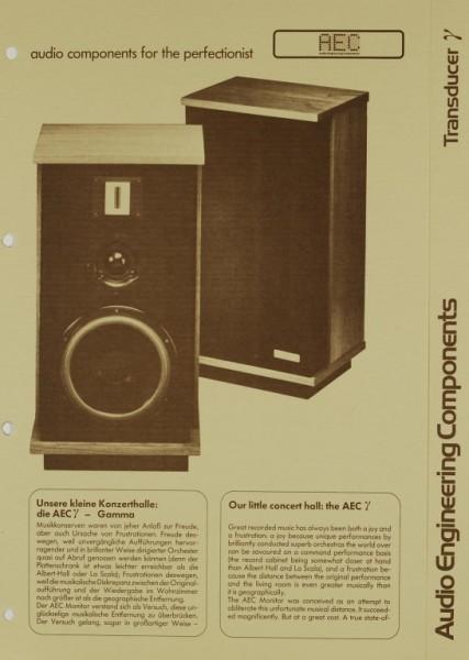 AEC - Audio Engineering Components Transducer ? Gamma Prospekt / Katalog