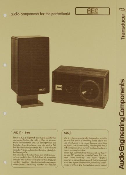 AEC - Audio Engineering Components Transducer ß Beta Prospekt / Katalog