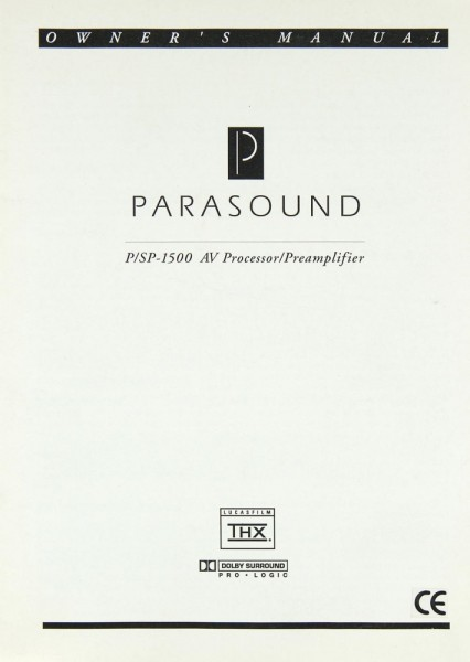 Parasound P/SP-1500 AV Bedienungsanleitung