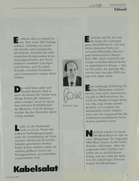 Stereoplay 6/1984 Zeitschrift