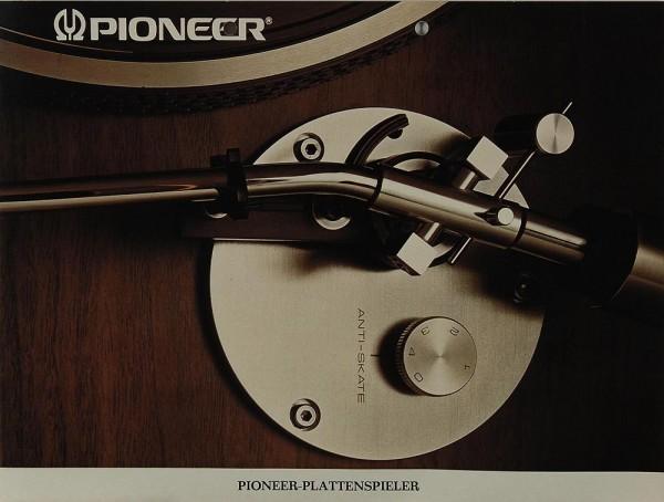 Pioneer Plattenspieler Prospekt / Katalog