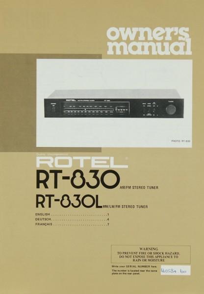 Rotel RT-830 / RT-830 L Bedienungsanleitung