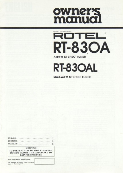 Rotel RT-830 A / RT-830 AL Bedienungsanleitung