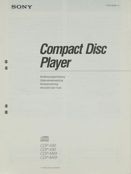 Sony CDP-590 / CDP-490 / CDP-M 69 / CDP-M 49 Bedienungsanleitung