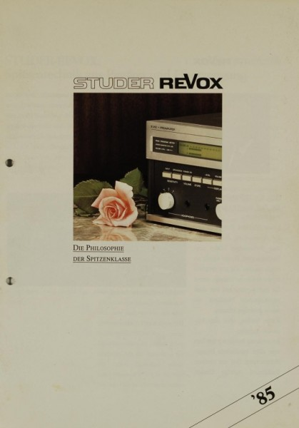 Revox (Studer Revox) Die Philosophie der Spitzenklasse ´85 Prospekt / Katalog
