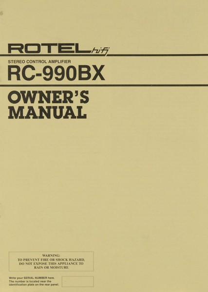 Rotel RC-990 BX Bedienungsanleitung