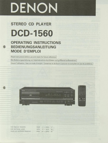 Denon DCD-1560 Bedienungsanleitung