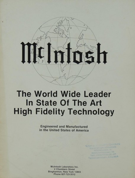 McIntosh The World Wide Leader in State of the Art Hifi T. Prospekt / Katalog