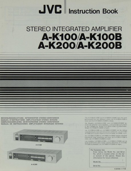 JVC A-K 100 / 100 B / 200 / 200 B Bedienungsanleitung