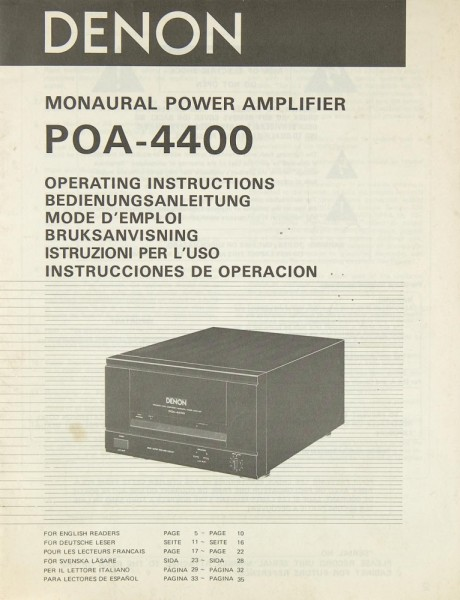 Denon POA-4400 Bedienungsanleitung