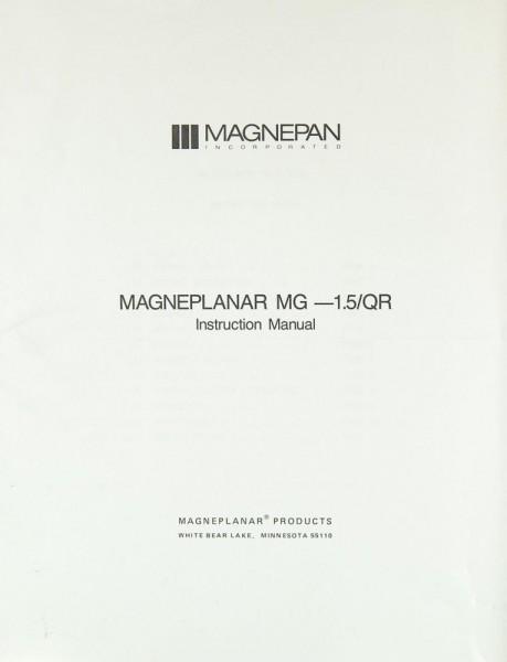Magneplanar MG-1.5 / QR Bedienungsanleitung