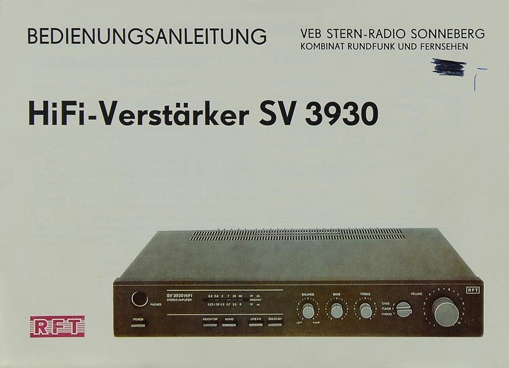 RFT SV 3930 Bedienungsanleitung | Vollverstärker | RFT ...