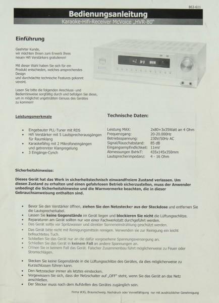McVoice HVR-80 Bedienungsanleitung