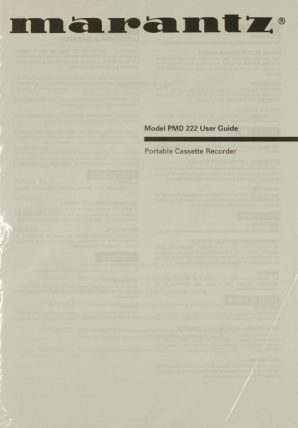 Marantz Model PMD 222 Bedienungsanleitung