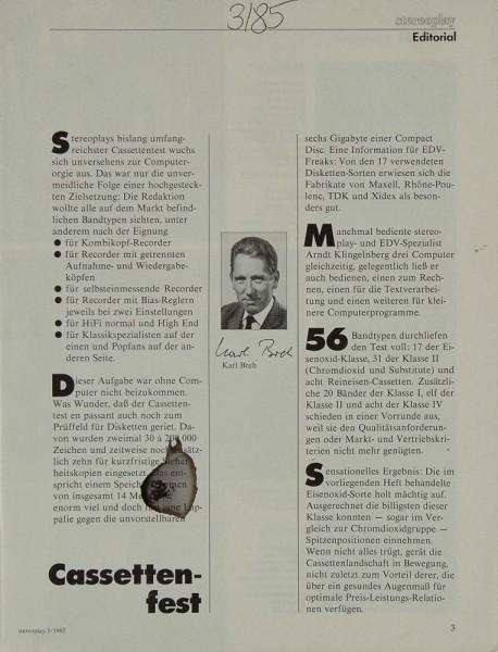 Stereoplay 3/1985 Zeitschrift