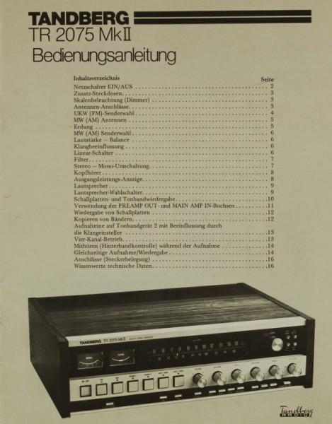 Tandberg TR 2075 Mk II Bedienungsanleitung