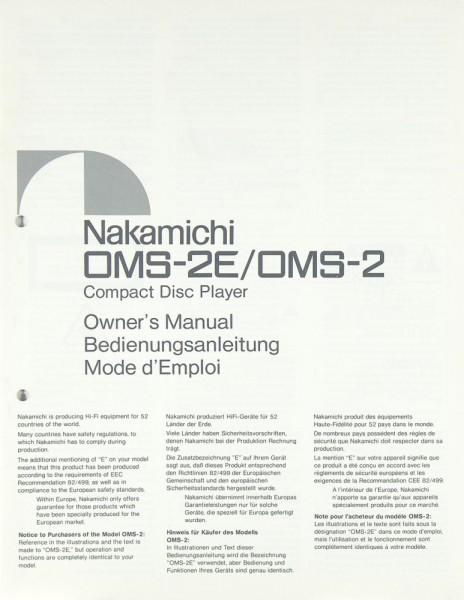 Nakamichi OMS-2 E / OMS-2 Bedienungsanleitung