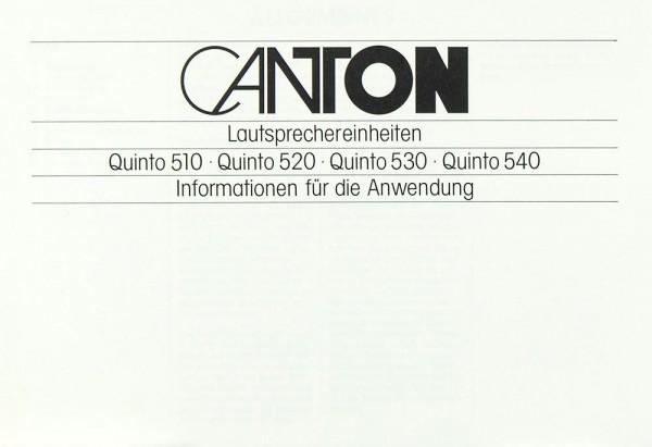 Canton Quinto 510 / 520 / 530 / 540 Bedienungsanleitung