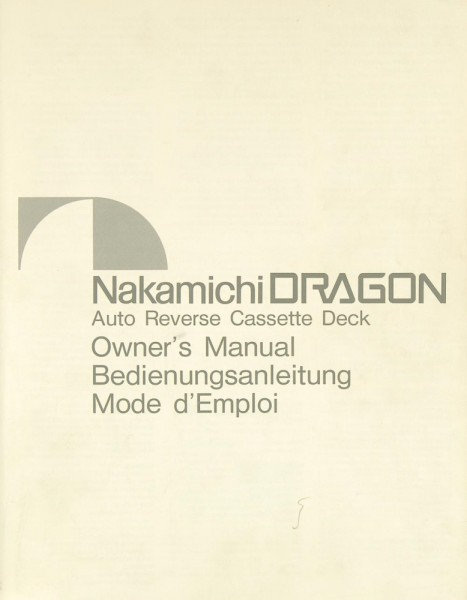 Nakamichi Dragon Bedienungsanleitung