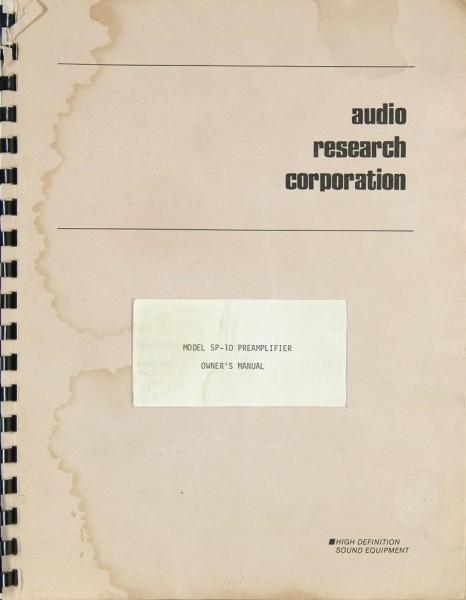 Audio Research SP-10 Bedienungsanleitung