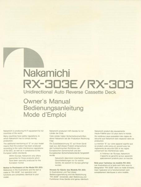 Nakamichi RX-303 E / RX-303 Bedienungsanleitung