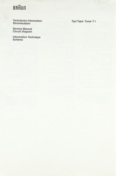 Braun T 1 Schaltplan / Serviceunterlagen