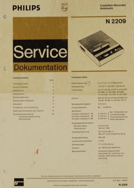 philips n 2209 schaltplan serviceunterlagen tapedeck. Black Bedroom Furniture Sets. Home Design Ideas