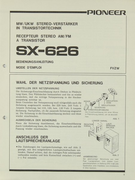 Sony SX-626 Bedienungsanleitung