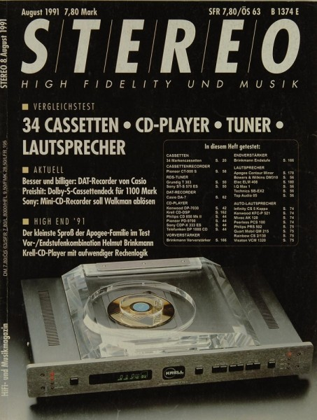 Stereo 8/1991 Zeitschrift
