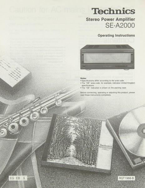 Technics SE-A 2000 Bedienungsanleitung