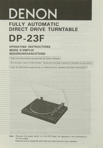 Denon DP-23 F Bedienungsanleitung