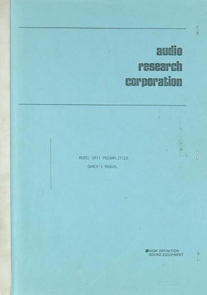Audio Research SP 11 Bedienungsanleitung