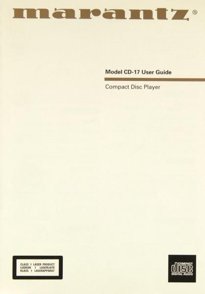 Marantz CD-17 Bedienungsanleitung