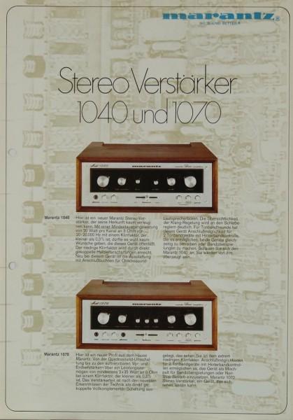 Marantz 1040 / 1070 Prospekt / Katalog