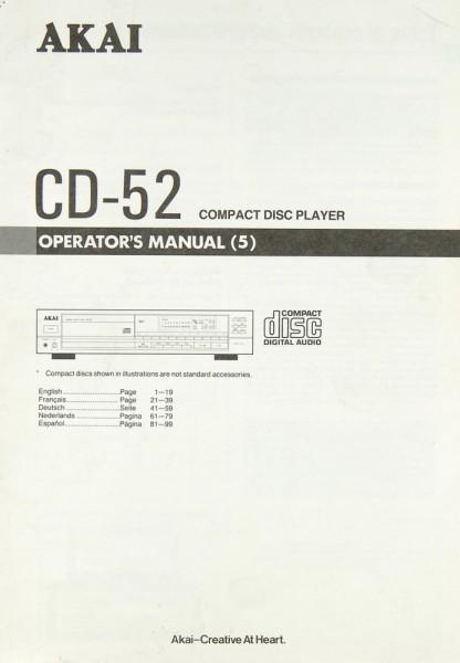 Akai CD-52 Bedienungsanleitung