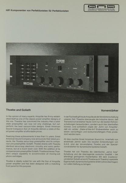 GAS Thoebe and Goliath Prospekt / Katalog