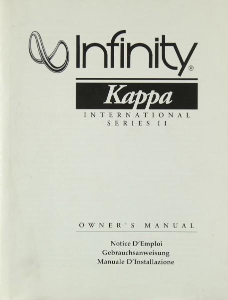 Infinity Kappa International Series II Bedienungsanleitung